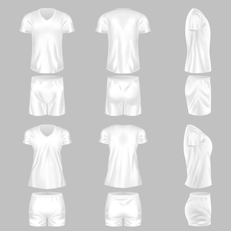 Plantilla realista de combinación de pijama masculino femenino con camisa y pantalón corto. ropa blanca cómoda para dormir o ropa recreativa doméstica. vector de maqueta de ropa de comodidad