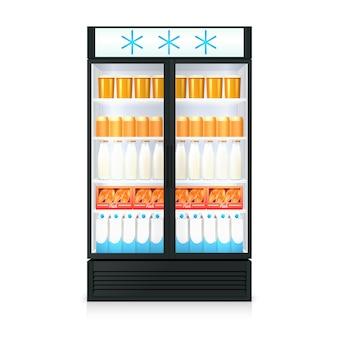 Plantilla realista de congelador con botellas de comida, cajas de cartón y puerta de vidrio.