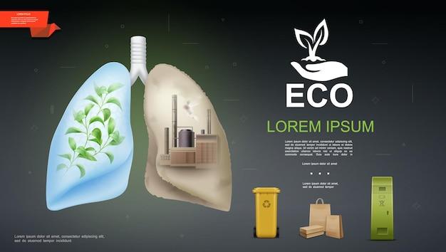 Plantilla realista de eco y naturaleza con planta verde y fábrica industrial en contenedores de plástico de diferentes pulmones