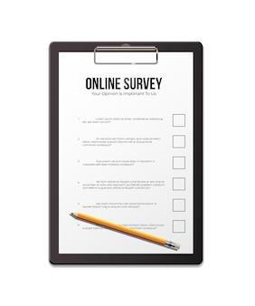 Plantilla realista de encuesta en línea, hoja de papel vacía con lápiz.