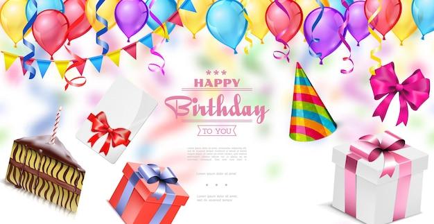 Plantilla realista de feliz cumpleaños con globos de colores guirnalda confeti tarjeta de invitación arcos cajas presentes pedazo de pastel sombrero de fiesta ilustración
