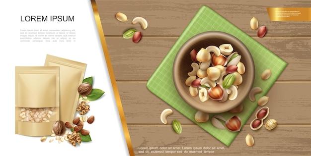 Plantilla realista de frutos secos orgánicos y naturales con tazón de fuente de diferentes frutos secos saludables en la ilustración de fondo de madera
