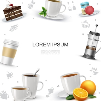 Plantilla realista de la hora del té con trozos de pastel macarrones prensa francesa hojas de menta naranja tazas de té y café