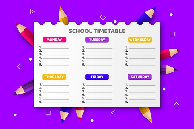 Plantilla realista de horario de regreso a la escuela