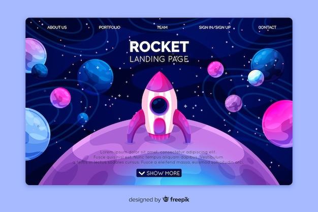 Plantilla realista de landing page del espacio