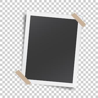 Plantilla realista con marco de fotos de papel con cinta adhesiva