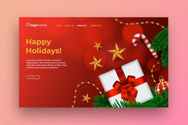 Plantilla realista de página de aterrizaje de navidad