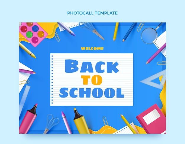 Plantilla realista para photocall de regreso a clases