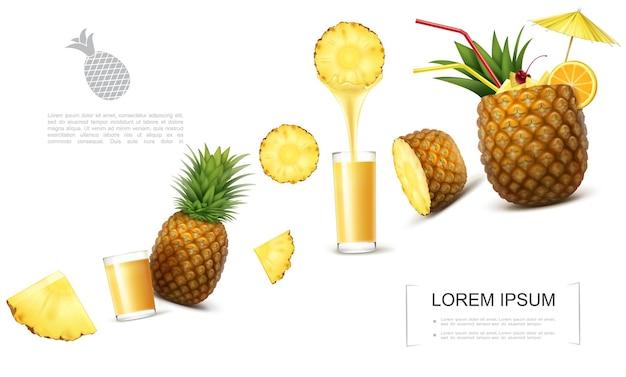 Plantilla realista de piña fresca con trozos de frutas tropicales vasos de jugo natural cóctel de piña adornado con paraguas y rodaja de naranja