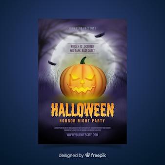 Plantilla realista de póster de calabaza de halloween