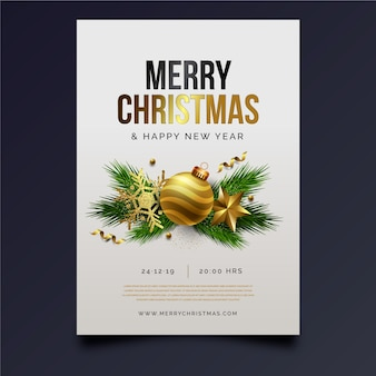 Plantilla realista de póster de fiesta de navidad