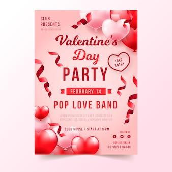 Plantilla realista de póster de fiesta de san valentín