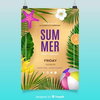 Plantilla realista de poster de fiesta de verano