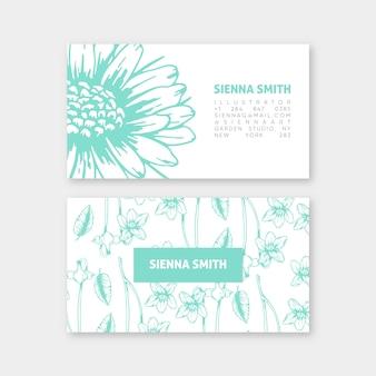 Plantilla realista tarjeta de visita floral dibujada a mano
