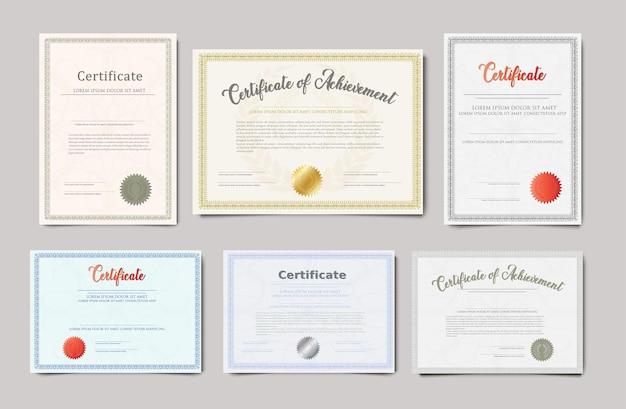 Plantilla realista vector de dos certificados