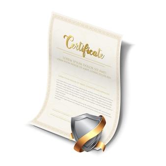 Plantilla realista vector de garantía de certificado