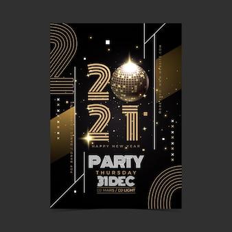 Plantilla realista de volante de fiesta de año nuevo 2021