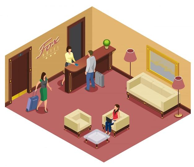 Plantilla de recepción isométrica del hotel con recepcionista visitantes sofá sillas mesa elevador lámparas