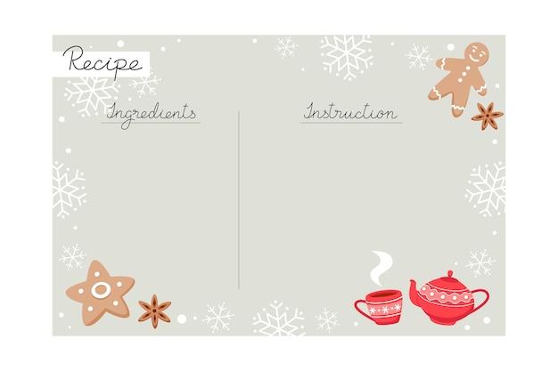 Plantilla de receta para hornear navideña con ingredientes e instrucciones