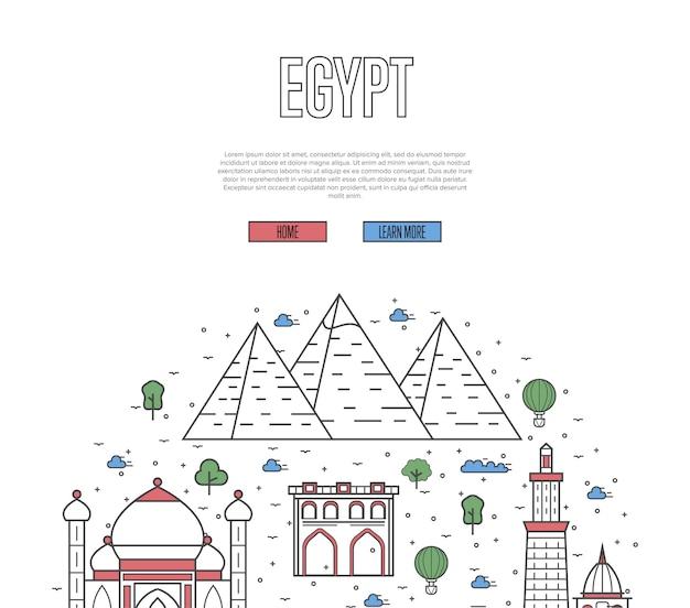 Plantilla de recorrido turístico por egipto en estilo lineal