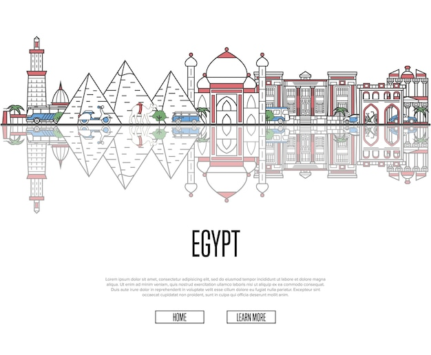 Plantilla de recorrido turístico a egipto en estilo lineal