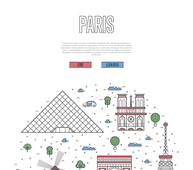 Plantilla de recorrido turístico de francia en estilo lineal
