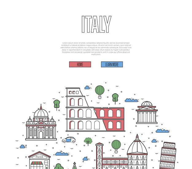 Plantilla de recorrido turístico por italia en estilo lineal