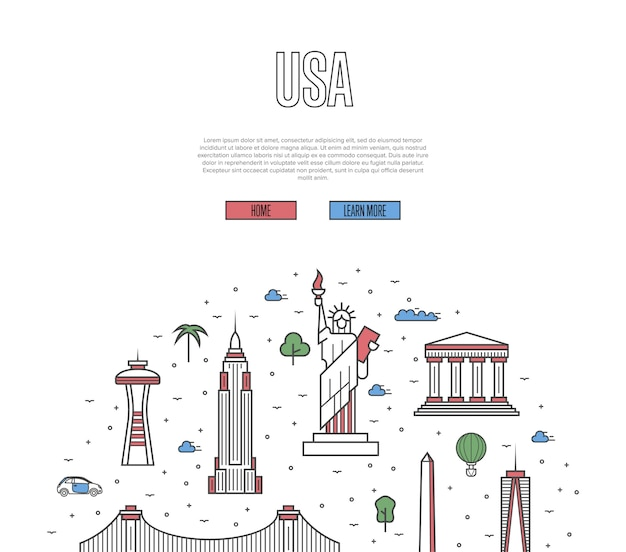 Plantilla de recorrido de viaje de estados unidos en estilo lineal