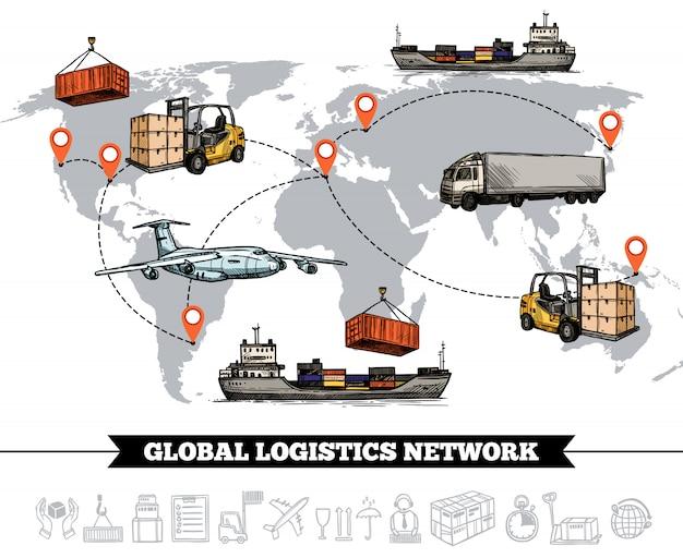 Plantilla de red logística mundial