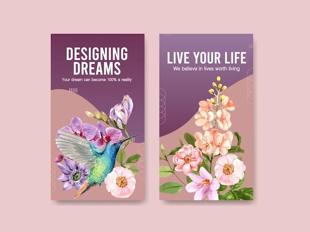 Plantilla de redes sociales con acuarela de diseño de concepto de flor de verano