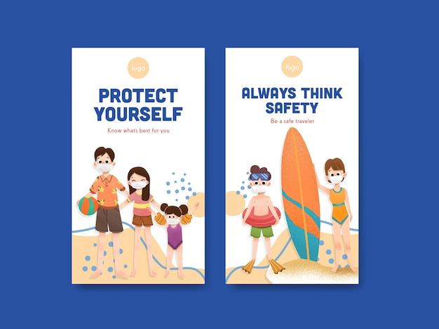 Plantilla de redes sociales con diseño de concepto de prevención de covid-19 para un nuevo estilo de vida normal.