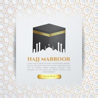 Plantilla de redes sociales hajj mabroor con banner de patrón de oro blanco