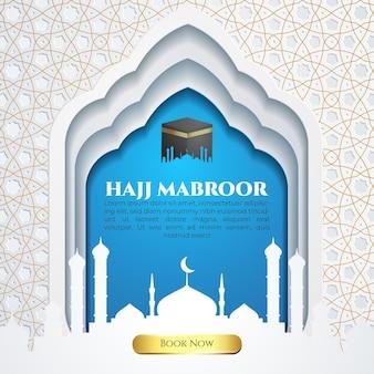 Plantilla de redes sociales hajj mabroor con patrón de oro blanco y banner islámico azul