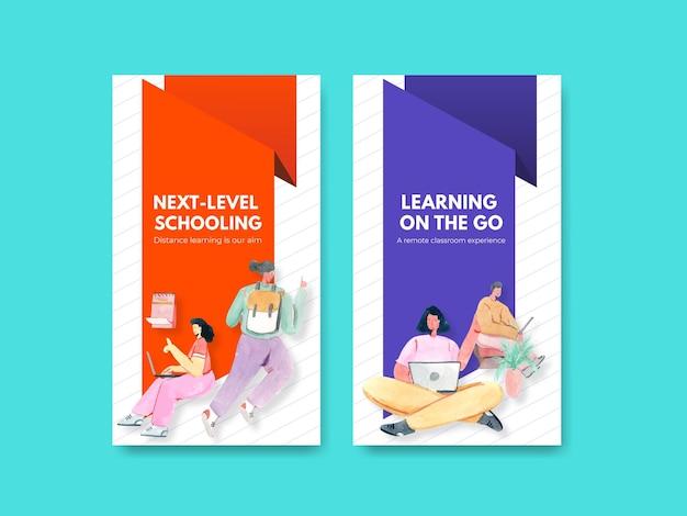 Plantilla de redes sociales con ilustración de acuarela de diseño de concepto de aprendizaje en línea