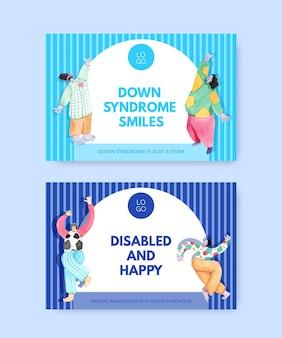Plantilla de redes sociales con ilustración de acuarela de diseño de concepto de día mundial del síndrome de down