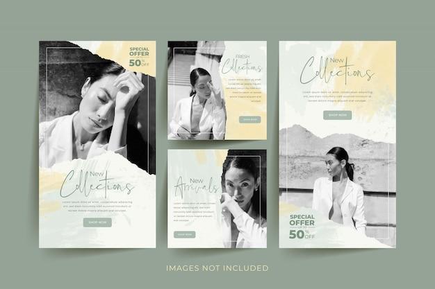 Plantilla de redes sociales de mujer de moda con acuarela abstracta y fondo de papel rasgado