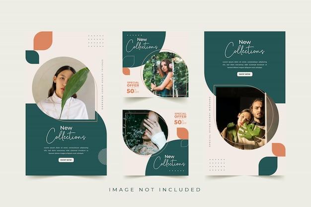 Plantilla de redes sociales de mujer de moda con colores de fondo