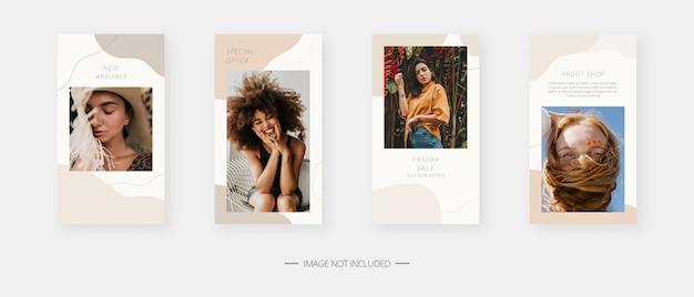 Plantilla de redes sociales. plantilla de historias de redes sociales editables de moda. diseño de plantillas.
