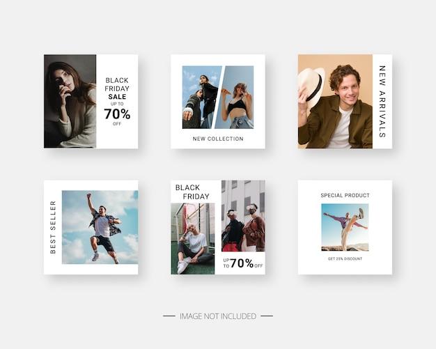 Plantilla de redes sociales. plantilla de publicación de redes sociales editable de moda.