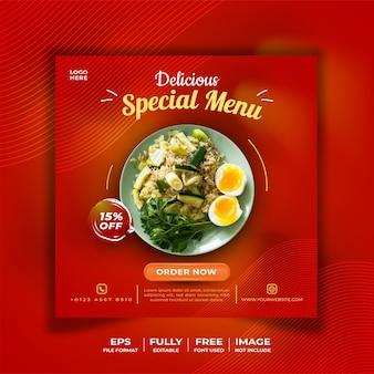 Plantilla de redes sociales con temática de comida.
