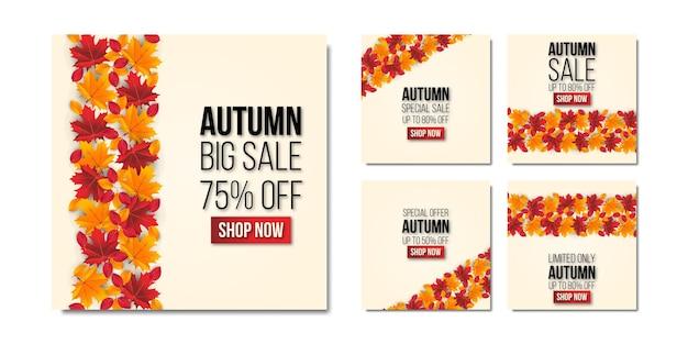 Plantilla de redes sociales de venta de otoño establece fondo con hoja vector premium
