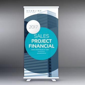 Plantilla redonda azul de soporte de presentación de negocios