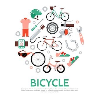 Plantilla redonda de bicicleta en estilo plano