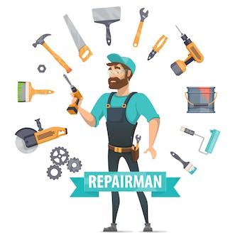 Plantilla redonda de elementos de reparación