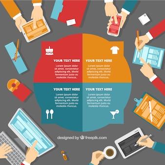 Plantilla redonda de infografía de negocios