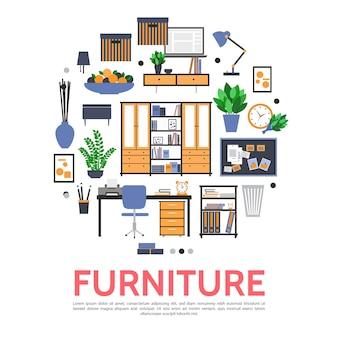 Plantilla redonda de muebles en estilo plano