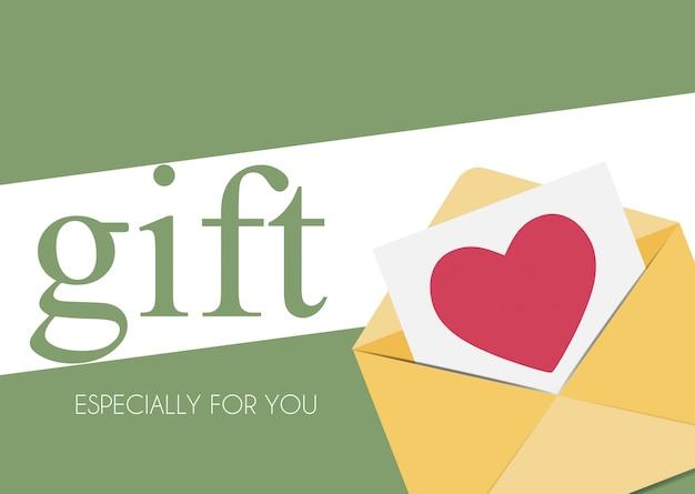 Plantilla de regalo con sobre con el símbolo del corazón.
