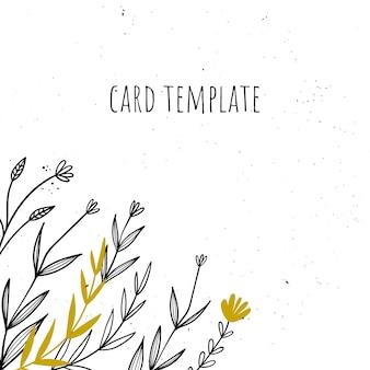 Plantilla de regalo, tarjeta de invitación con flores.