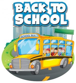 Plantilla de regreso a la escuela con autobús escolar