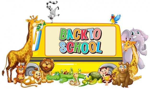 Plantilla de regreso a la escuela con autobús